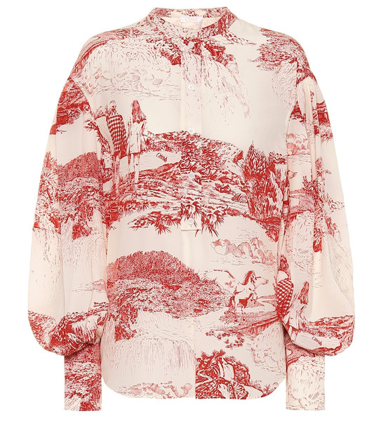 Chloé Printed silk blouse in red