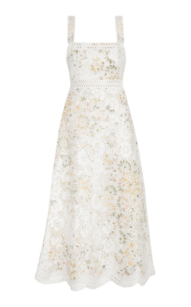 Zimmermann Amelie Embroidered Floral Linen-Cotton Midi Dress in print