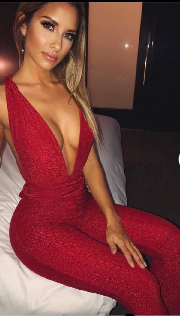jumpsuit red sparkle