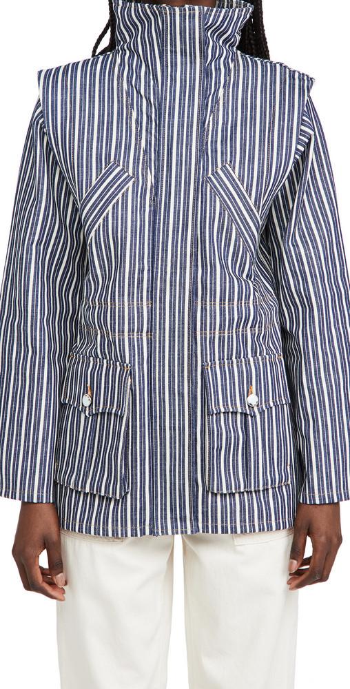 GANNI Mixed Stripe Denim Jacket in indigo