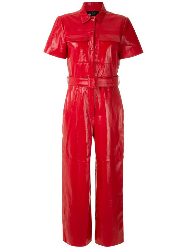 Eva leather jumpsuit in red