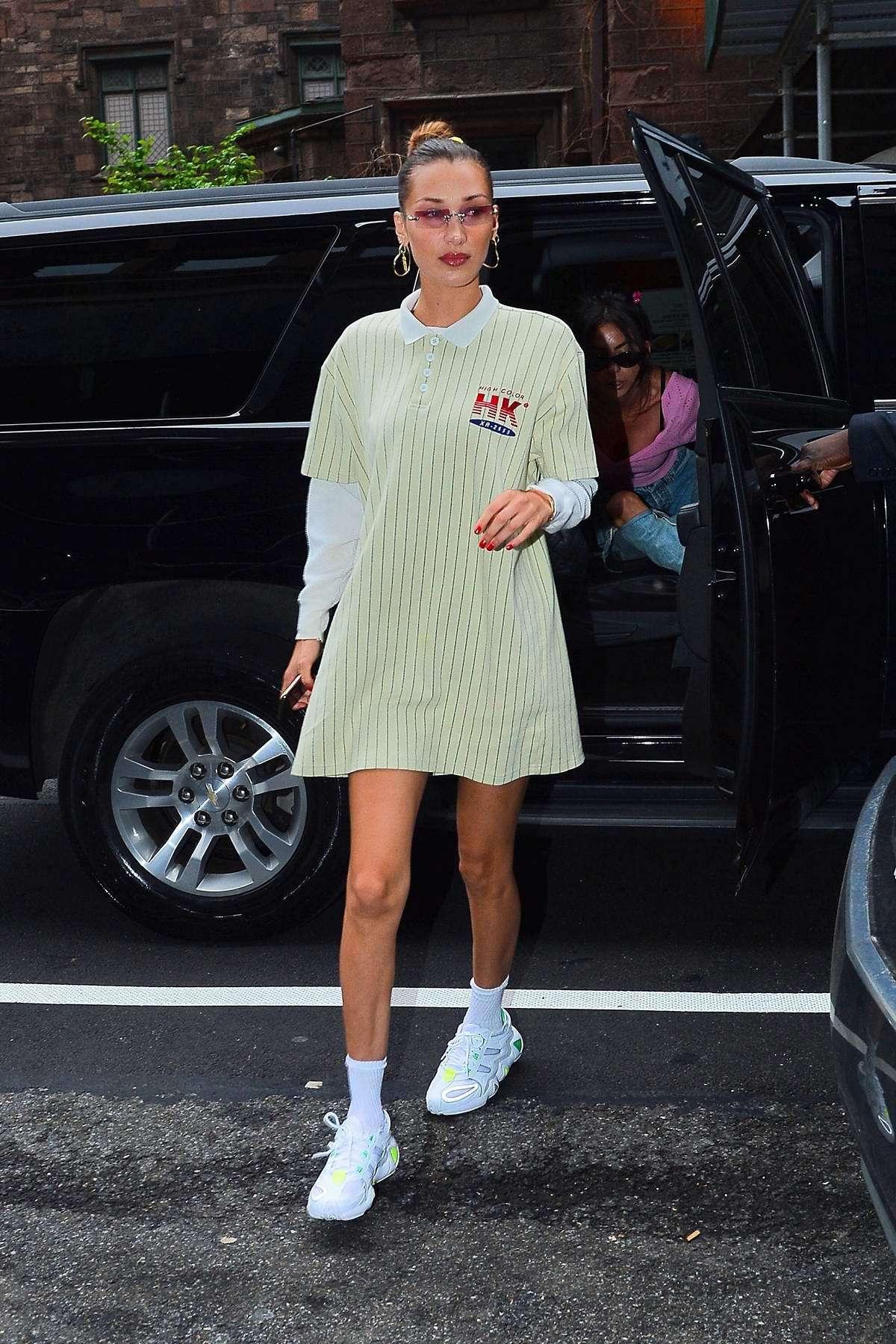dress bella hadid model off-duty jersey dress jersey sneakers