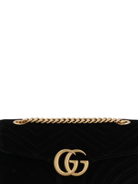 Gucci Marmont Quilted Velvet Shoulder Bag in black