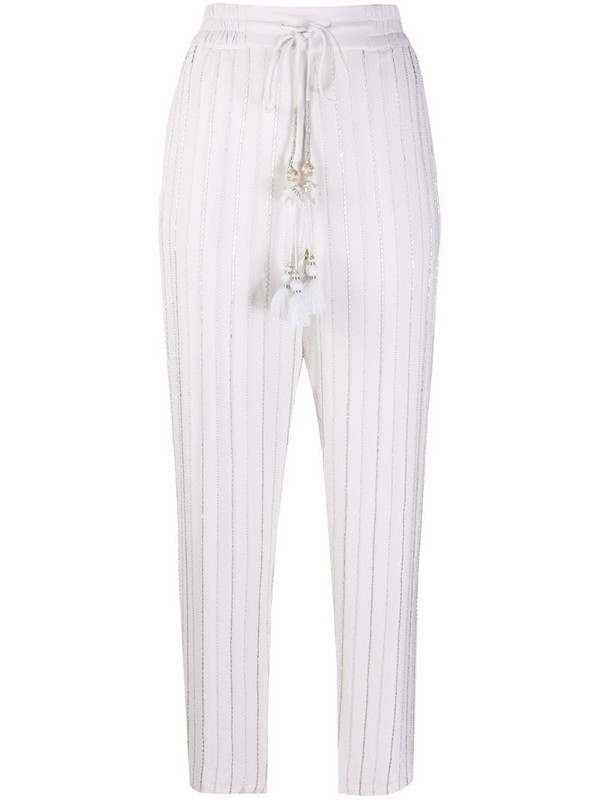Christian Pellizzari beaded tapered trousers in white