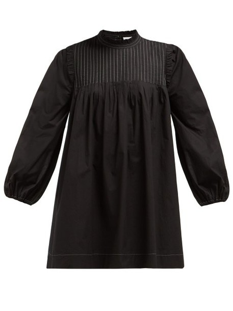 Ganni - Slate Pintucked Cotton Poplin Dress - Womens - Black