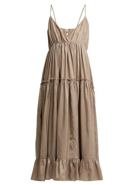 Loup Charmant - Carino Silk Midi Dress - Womens - Beige