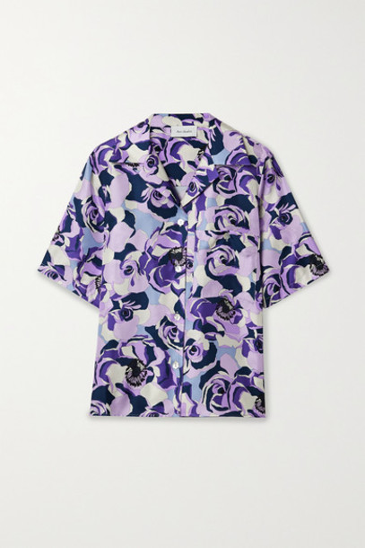 Art Dealer - Floral-print Silk-satin Twill Shirt - Purple