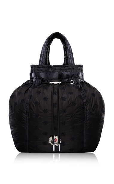 Moncler 4 Simone Rocha Parachute Drawstring Floral-Embroidered Shell Backpack in black