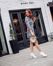 dress,mini dress,ankle boots,white boots,handbag