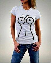 top,bike,white,t-shirt,cotton,funny