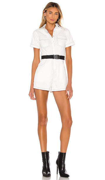 superdown Emma Contrast Stitch Romper in White