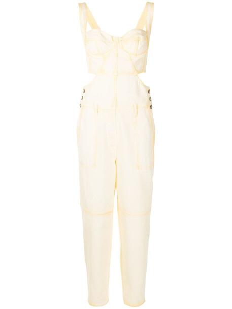 Alberta Ferretti open-back cotton jumpsuit - Yellow