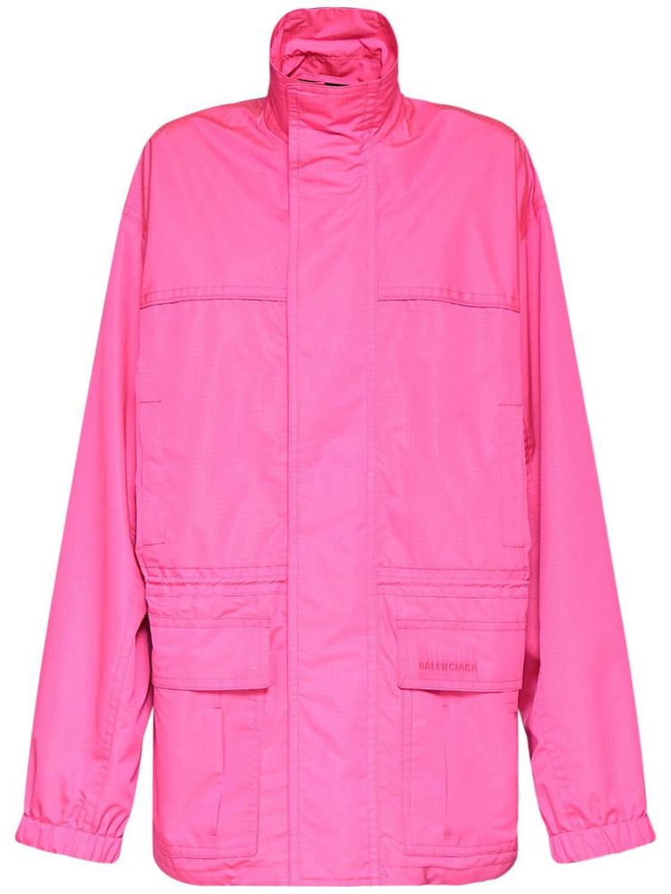 BALENCIAGA Ripstop Tech Light Parka Jacket in pink