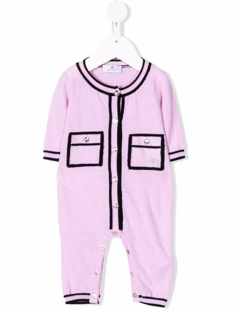 Chiara Ferragni Kids knitted two-tone romper - Pink
