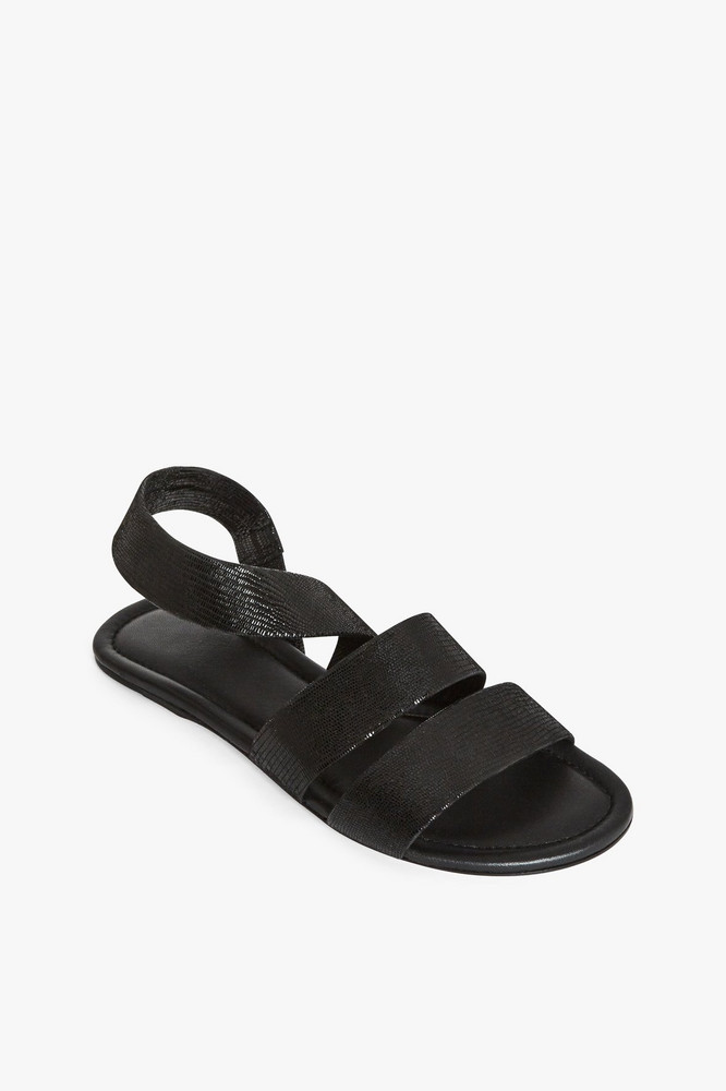 Staud ELLIE SANDAL | BLACK LIZARD EMBOSSED