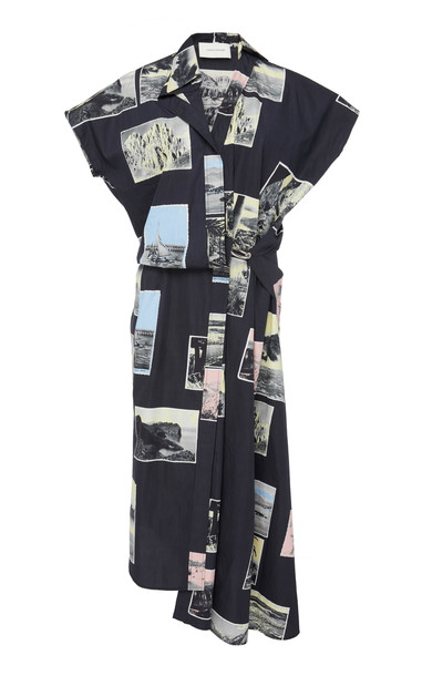 Cédric Charlier Printed Cotton Shirtdress in black