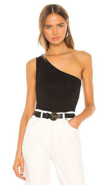 Enza Costa One Shoulder Bodysuit in Black