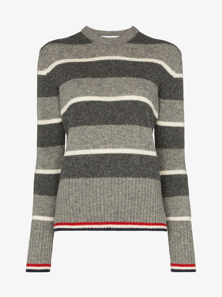 Thom Browne Wide Repp Stripe Relaxed Pullover in grey