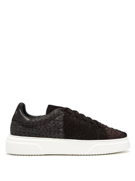 By Walid - 19th Century Panelled Low Top Trainers - Womens - Black