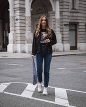 jacket,denim jacket,black jacket,high waisted jeans,skinny jeans,adidas,sneakers,shoulder bag,black t-shirt,streetwear
