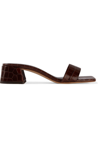 BY FAR - Courtney Croc-effect Leather Mules - Brown