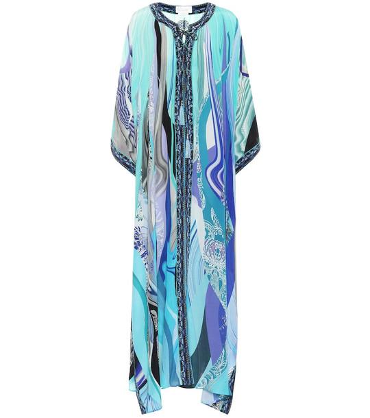 Camilla Printed silk maxi kaftan in blue