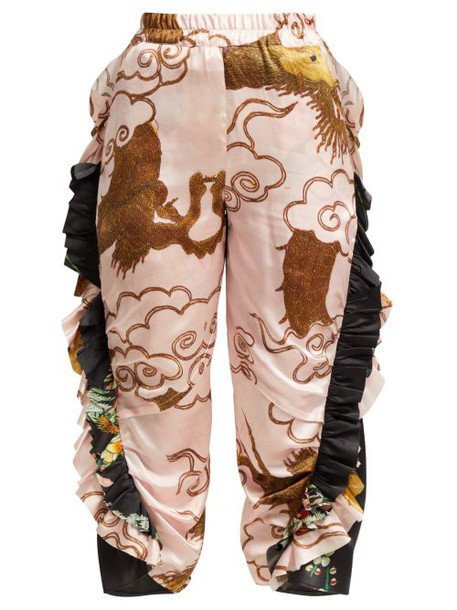 By Walid - Sissy Antique Silk Trousers - Womens - Pink Multi