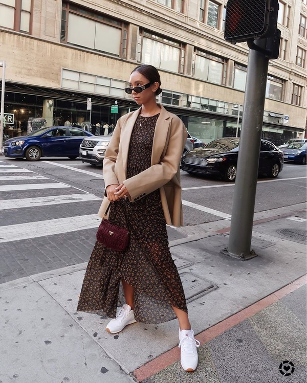 shoes white sneakers maxi dress blazer handbag