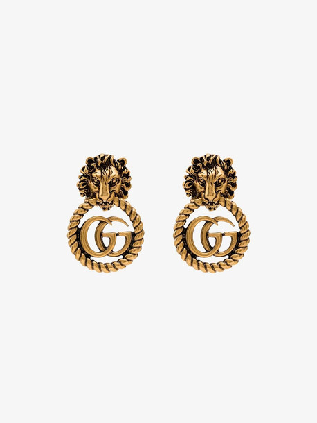 Gucci Gold-plated Lion head logo earrings