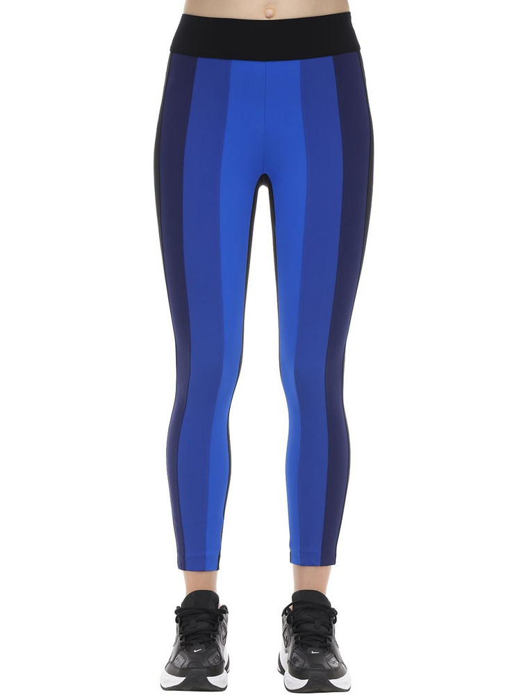 NO KA'OI Ascent Cropped Stretch Nylon Leggings in black / blue