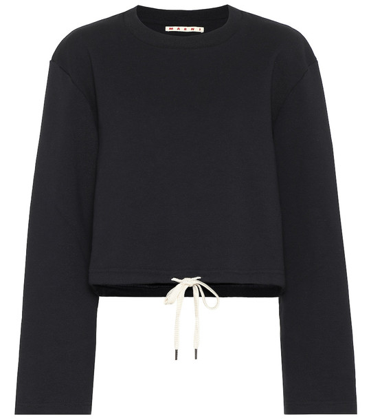 Marni Cropped cotton sweatshirt in blue