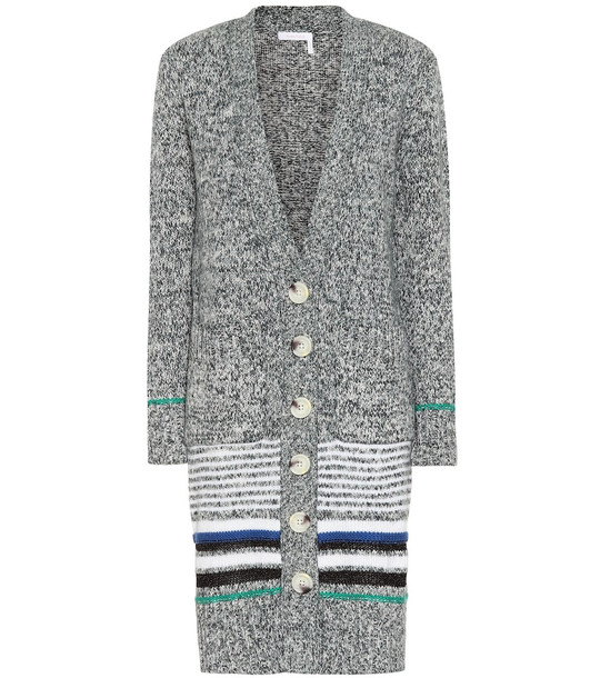See By Chloé Striped cotton-blend cardigan in grey