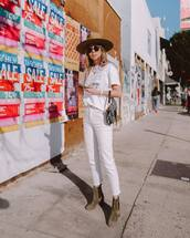 jeans,cropped jeans,white jeans,high waisted jeans,ankle boots,dior bag,white t-shirt,felt hat,sunglasses,casual