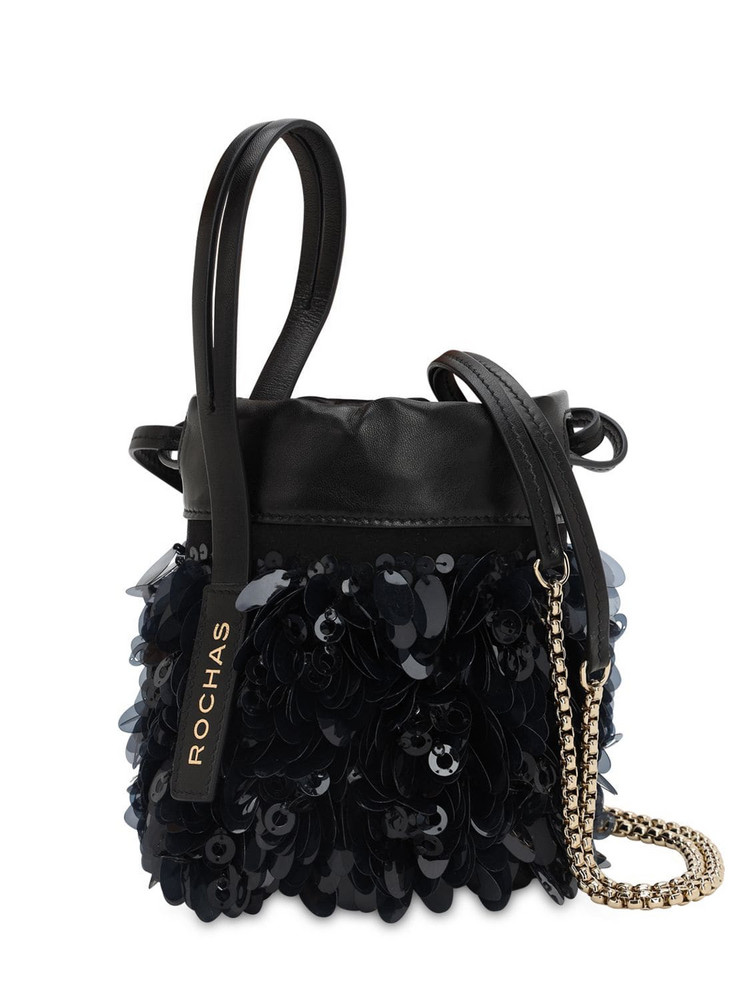 ROCHAS Sequined Leather Bucket Bag in black