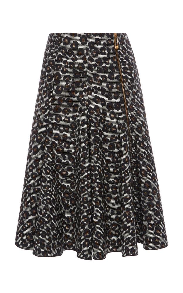 Versace Leopard-Print Wool Skirt in grey