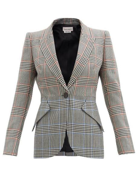 Alexander Mcqueen - Glen-check Wool-twill Suit Jacket - Womens - Grey Multi
