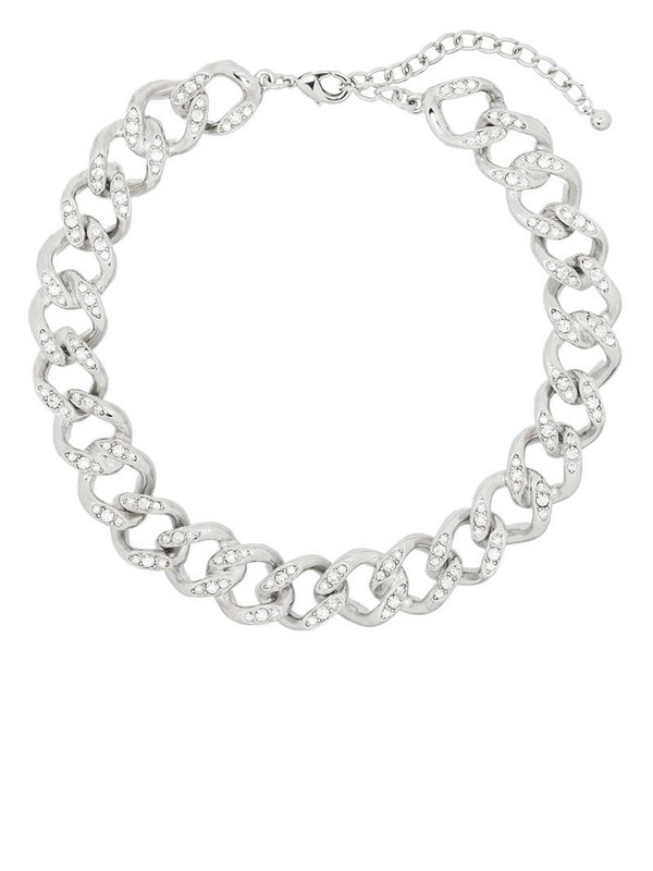 Kenneth Jay Lane crystal-embellished chain necklace in silver