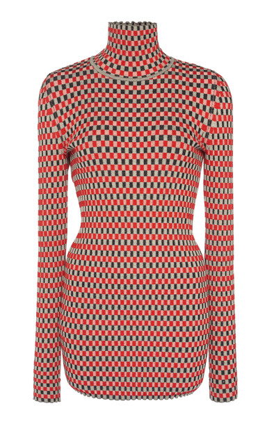 Paco Rabanne Button-Detailed Cotton-Jaquard Turtleneck in print