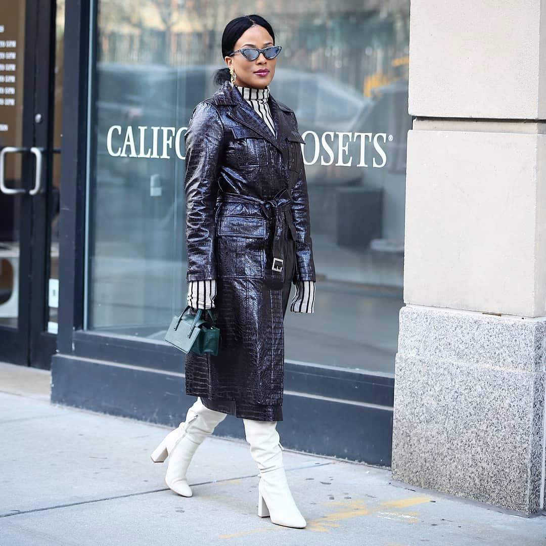 coat trench coat leather knee high boots turtleneck bag