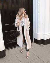 coat,faux fur coat,long coat,double breasted,sandals,high waisted pants,black bag,crossbody bag,white top