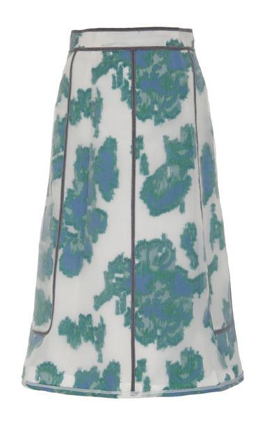 3.1 Phillip Lim Fil Coupe Abstract Daisy Skirt With Seam Detailing Sleeve