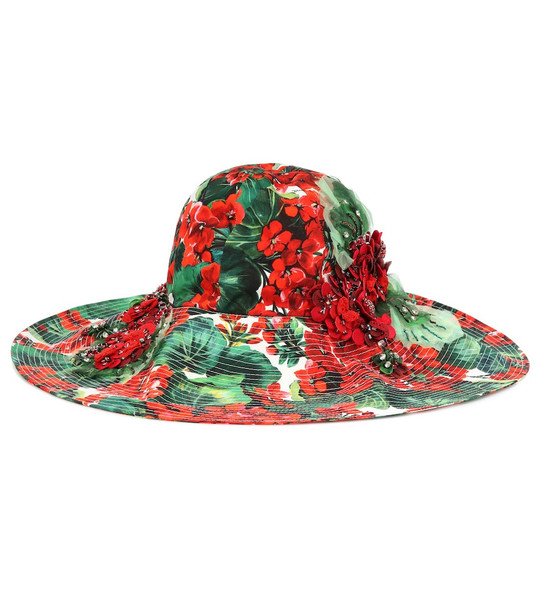 Dolce & Gabbana Embellished floral cotton hat in red