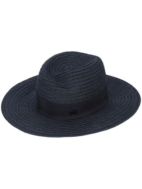 Maison Michel logo plaque panama hat in blue