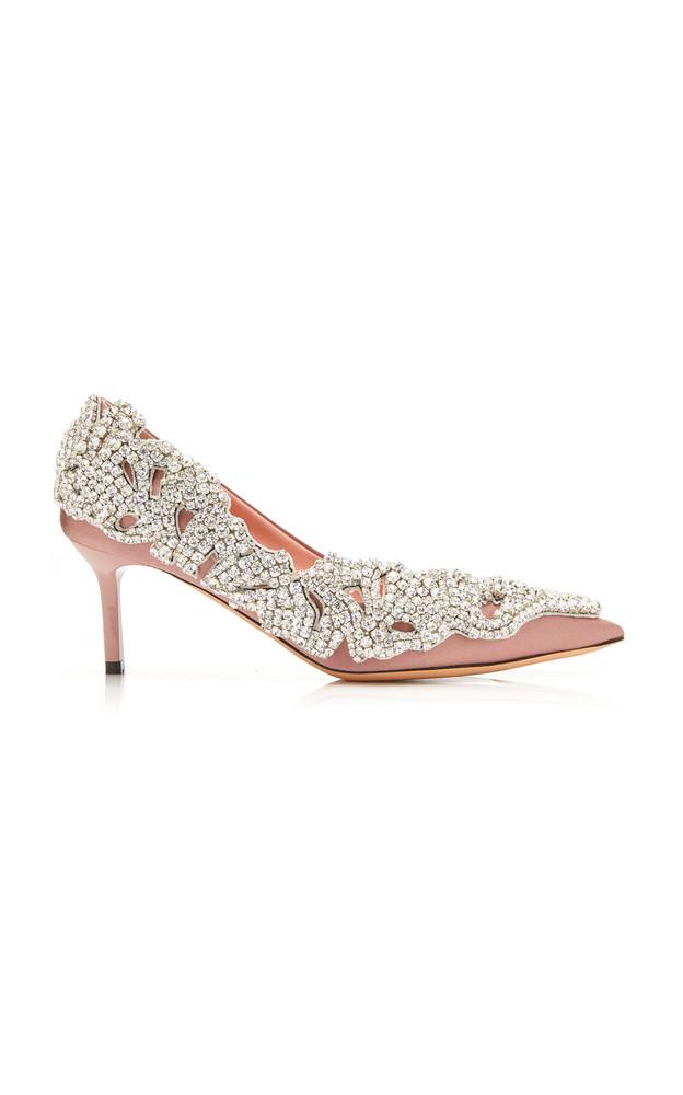 Rochas Crystal-Embellished Satin Pumps Size: 36 in pink