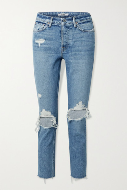 GRLFRND - Karolina Cropped Distressed High-rise Skinny Jeans - Blue