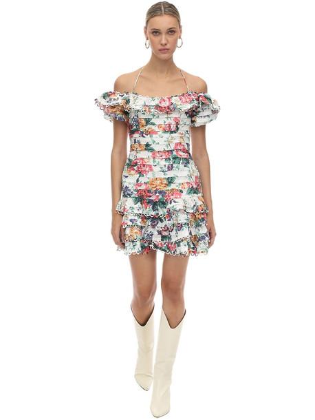 ZIMMERMANN Ruffled Floral Print Linen Dress in white