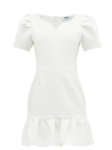 Msgm - Sweetheart Neckline Crepe Mini Dress - Womens - White