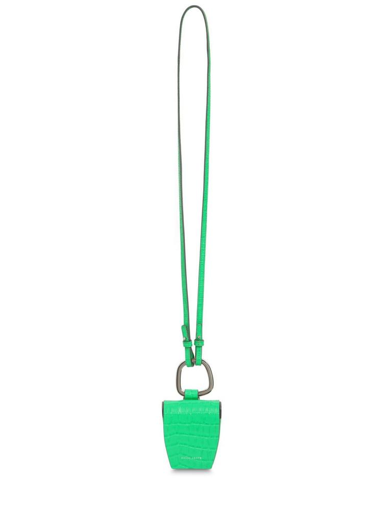 DANSE LENTE Magnetic Croc Embossed Leather Box Bag in emerald