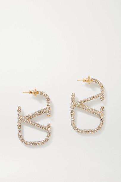 Valentino - Valentino Garavani Gold-tone Crystal Earrings - Silver