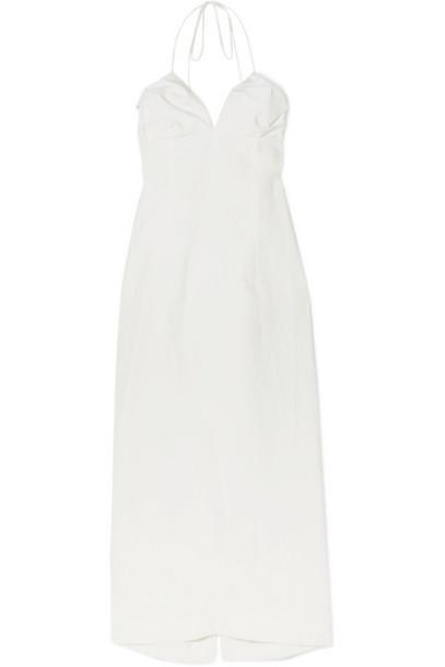 Jacquemus - Bambino Linen Halterneck Midi Dress - Off-white